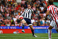 Craig Gardner of West Bromwich Albion looks to control the ball. Barclays Premier League match, Stoke city v West Bromwich Albion at the Britannia stadium in Stoke on Trent, Staffs on Saturday 29th August 2015.<br /> pic by Chris Stading, Andrew Orchard sports photography.