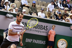May 27, 2019 - Paris, France - France's Richard Gasquet plays a backhand during hismen's singles first round match against Germany's Mischa Zverev on day two of The Roland Garros 2019 French Open tennis tournament in Paris on May 27, 2019. (Credit Image: © Ibrahim Ezzat/NurPhoto via ZUMA Press)