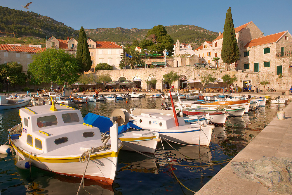 Fishing boats in Bol harbour, Bra? island, Croatia Fishing boats in Bol harbour, Brac island, Croatia .<br /> <br /> Visit our CROATIA HISTORIC SITES PHOTO COLLECTIONS for more photos to download or buy as wall art prints https://funkystock.photoshelter.com/gallery-collection/Pictures-Images-of-Croatia-Photos-of-Croatian-Historic-Landmark-Sites/C0000cY_V8uDo_ls