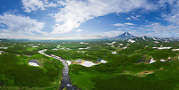Panoramic aerial view of Kambalnoe Lake, Kamchatka, Russia