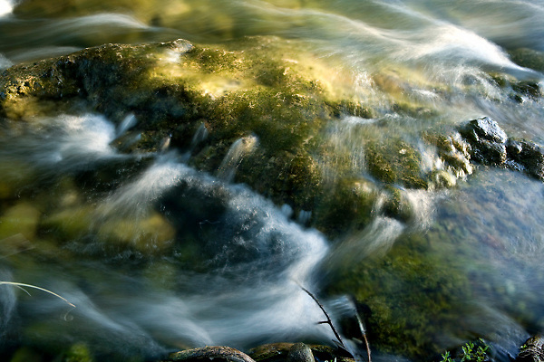Stock photo of flowing water of the Frio River in the Texas Hill Country