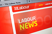 Computer screen showing the website for the Labour Party