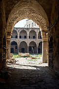 The courtyard of the old hostel Khan el Omdan, Old city of Acre, Israel