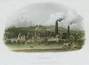 British Iron Company's Works at Corngraves. Corngraves or Corngreaves, near Halesowen, lies 7 miles south west of Birmingham and 5 miles south of Dudley, in the heart of the Black Country of the West Midlands. An entry appears in Pigot & Co's directory of 1835 under Iron Masters. (1835). Engraving.