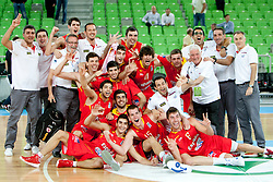 Team Spain after basketball match between National teams of Serbia and Spain in Placement match for 3rd place of U20 Men European Championship Slovenia 2012, on July 22, 2012 in SRC Stozice, Ljubljana, Slovenia. (Photo by Urban Urbanc / Sportida.com)