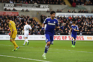 Diego Costa of Chelsea celebrates after he scores his teams 3rd goal. Barclays Premier League match, Swansea city v Chelsea at the Liberty Stadium in Swansea, South Wales on Saturday 17th Jan 2015.<br /> pic by Andrew Orchard, Andrew Orchard sports photography.