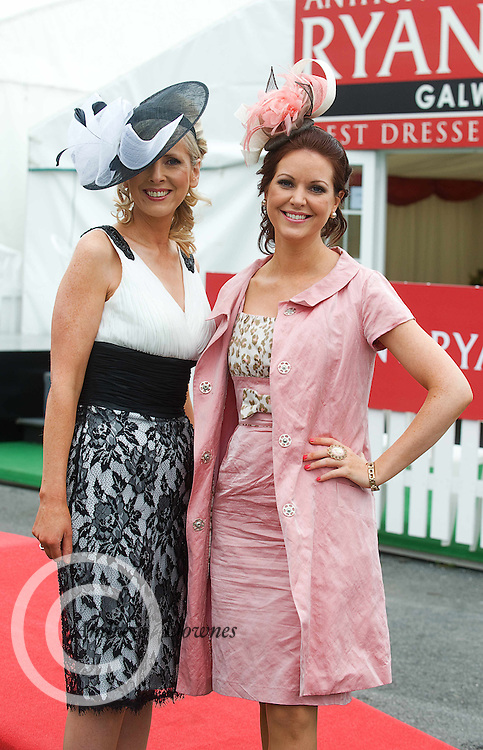 Carmel Dooley from Mervue, and Cora Casserly from Anthony Ryans at Ladies day of the Galway Races in Ballybrit. Photo:Andrew Downes