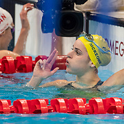 TOKYO, JAPAN - JULY 31:   Kaylee McKeown of Australia reacts to winning gold in the 200m Backstroke for women during the Swimming Finals at the Tokyo Aquatic Centre at the Tokyo 2020 Summer Olympic Games on July 31, 2021 in Tokyo, Japan. (Photo by Tim Clayton/Corbis via Getty Images)