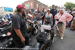 Dave Kafton talks about his 1925 Harley-Davidson JD to locals at the hosted Dinner stop on Spanish Street in Cape Girardeau, Missouri during Stage 5 of the Motorcycle Cannonball Cross-Country Endurance Run, which on this day ran from Clarksville, TN to Cape Girardeau, MO., USA. Tuesday, September 9, 2014.  Photography ©2014 Michael Lichter.