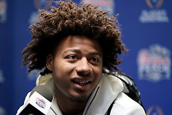 Derek Stingley Jr. #24 of the LSU Tigers speaks with the media at Media Day on Thursday, Dec. 26, in Atlanta. LSU will face Oklahoma in the 2019 College Football Playoff Semifinal at the Chick-fil-A Peach Bowl. (Paul Abell via Abell Images for the Chick-fil-A Peach Bowl)