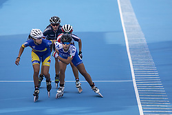 BUENOS AIRES, Oct. 9, 2018  Gabriela Isabel Rueda Rueda (L) of Colombia, Honorine Barrault (Back) of France and Giorgia Valanzano (R) of Italy compete during the women's combined 500m sprint final of the roller speed skating event at the 2018 Summer Youth Olympic Games in Buenos Aires, Argentina, on Oct. 8, 2018. (Credit Image: © Li Ming/Xinhua via ZUMA Wire)
