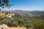 High angle view over Cornell from the Mulholland Highway, Santa Monica Mountains National Recreation Area, Los Angeles County, California, USA.
