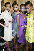 l to r: Marie Fumua, Quinana Grant, George, and Ajinal Mckinise backstage at This Day/Arise Magazine: African Fashion Collective 2009 held at The Promenade at the 2009 Fall Fashion Week at Bryant Park, NYC