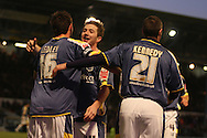 Cardiff's Joe Ledley celebrates his goal with Ross McCormack. FA Cup, 3rd round match, Cardiff City v Reading at Ninian Park, Cardiff on Sat 3rd Jan 2009. .pic by Andrew Orchard, Andrew Orchard sports photography