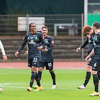 07.10.2020, wohninvest Weserstadion Platz 11, Bremen, GER, FSP SV WERDER BREMEN  vs 1. FC St. Pauli<br /> <br /> im Bild / picture shows <br /> <br /> jubel Tahith Chong (Werder Bremen #22) mit Leonardo Bittencourt  (Werder Bremen #10)<br /> Joshua Sargent (Werder Bremen #19)<br /> Kevin Möhwald / Moehwald (Werder Bremen #06)<br /> <br /> Foto © nordphoto / Kokenge