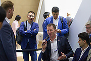 Bryan Baum, Co-Founder, Blue Vision Labs, United Kingdom and<br /> Chen Qiufan, Chief Creative Officer, Thema Mundi Studio, People's Republic of China; Cultural Leader are asked a question<br /> during the session: Fiction Prototyping for the Future at the World Economic Forum - Annual Meeting of the New Champions in Tianjin, People's Republic of China 2018.Copyright by World Economic Forum / Greg Beadle