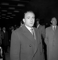 Alfredo Di Stefano, the Spanish football 'wizard', on arrival from Madrid at London Airport. He is expected to captain the Spanish football team when they meet England at Wembley Stadium on the 26th October.