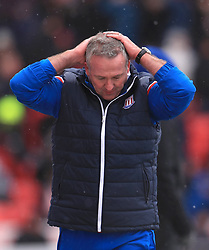 Stoke City manager Paul Lambert reacts on the touchline during the Premier League match at the bet365 Stadium, Stoke.
