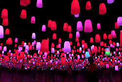 May 2, 2019 - Qingdao, China - Visitors view a holographic light show in the Qingdao West Coast New Area in Qingdao, east China's Shandong Province. (Credit Image: © Xinhua via ZUMA Wire)