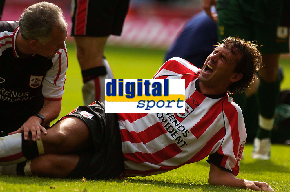 Photo: Alan Crowhurst.<br /> Southampton v Norwich City. Coca Cola Championship.<br /> 20/08/2005. Saints Claus Lundekvam feels the pain after a collision and is stretchered off.