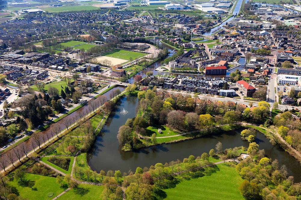Nederland, Drenthe, Coevorden, 01-05-2013; overzicht noordelijk gedeelte van de stad. Links Stieltjeskanaal overgaand in Coevorden-Vechtkanaal.<br /> Coevorden, provincial city near German border (East Holland).<br /> luchtfoto (toeslag op standard tarieven);<br /> aerial photo (additional fee required);<br /> copyright foto/photo Siebe Swart