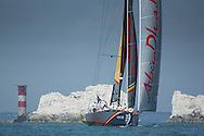 The Artemis Challenge at Aberdeen Asset Management Cowes Week 2014. <br /> Abu Dhabi - skippered by Ian Walker (GBR). with guest Simon and Yasmin Le Bon.<br /> FREE for editorial use. Credit: Lloyd Images