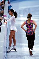Kunstløp<br /> OL 1994 Lillehammer<br /> Foto: imago/Digitalsport<br /> NORWAY ONLY<br /> <br /> 16.02.1994  <br /> Nancy Kerrigan (li.) und Tonya Harding (beide USA)