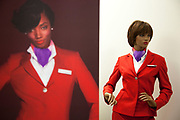 CRAWLEY, WEST SUSSEX, UK, OCTOBER 27TH 2011. A dummy in uniform and the cover model for the new Virgin rule book magazine for the employees. Virgin Atlantic air stewardess and steward training at The Base training facility. (Photo by Mike Kemp for The Washington Post)