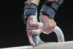 August 18, 2018 - Boston, Massachussetts, U.S - A gymnast practices on the pommel horse during the practice period before the final round of competition held at TD Garden in Boston, Massachusetts. (Credit Image: © Amy Sanderson via ZUMA Wire)
