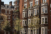 Handsome red brick architecture of Victorian properties in D'Oyley Street, London's Belgravia, SW1