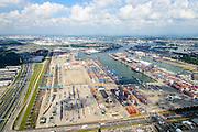 Nederland, Zuid-Holland, Rotterdam, 10-06-2015; Eemhaven met Rotterdam  Shortsea Terminals, Beatrixhaven. Links Rail Service Center Rotterdam (RSC Rotterdam),  overslag voor het gecombineerde rail-wegvervoer.<br /> Container stevedore.<br /> luchtfoto (toeslag op standard tarieven);<br /> aerial photo (additional fee required);<br /> copyright foto/photo Siebe Swart