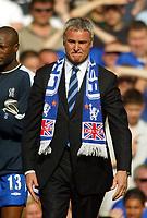 Photo: Scott Heavey, Digitalsport<br /> NORWAY ONLY<br /> <br /> Chelsea v Leeds United. FA Barclaycard Premiership. 15/05/2004.<br /> An emotional last match for Claudio Ranieri