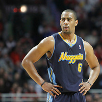 26 March 2012: Denver Nuggets shooting guard Arron Afflalo (6) rests during the Denver Nuggets 108-91 victory over the Chicago Bulls at the United Center, Chicago, Illinois, USA. NOTE TO USER: User expressly acknowledges and agrees that, by downloading and or using this photograph, User is consenting to the terms and conditions of the Getty Images License Agreement. Mandatory Credit: 2012 NBAE (Photo by Chris Elise/NBAE via Getty Images)