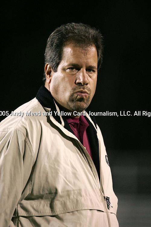 Mark Krikorian, Florida State head coach, on Friday, November 4th, 2005 at SAS Stadium in Cary, North Carolina. The University of Virginia Cavaliers defeated the Florida State University Seminoles 2-0 in their Atlantic Coast Conference Tournament Semifinal game.
