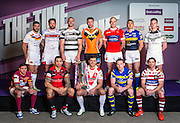 Picture by Alex Whitehead/SWpix.com - 01/02/2015 - Rugby League - 2015 First Utility Super League Launch - Victoria Warehouse, Manchester, England - The twelve Super League club captains and representatives line-up for a photo to preview the 2015 season, top row from left - Catalans' Mathias Pala, Wakefield's Danny Kirmond, Hull FC's Gareth Ellis, Castleford's Michael Shenton, Hull KR's Terry Campese, Leeds' Kevin Sinfield, Widnes Kevin Brown, bottom row from left - Huddersfield's Danny Brough, Salford's Harrison Hansen, St Helens' Jon Wilkin, Warrington's Joel Monaghan and Wigan's Matty Smith.