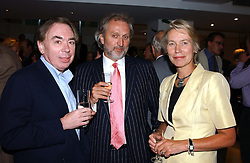 Left to right, LORD LLOYD-WEBBER, NICK ALLOT and VIRGINIA BOTTOMLEY at the Conservative party Pre-Conference Season party hosted by Lord Saatchi and Lord Strathclyde and held at M&C Saatchi, 36 Golden Square, London W1 on 7th September 2004.