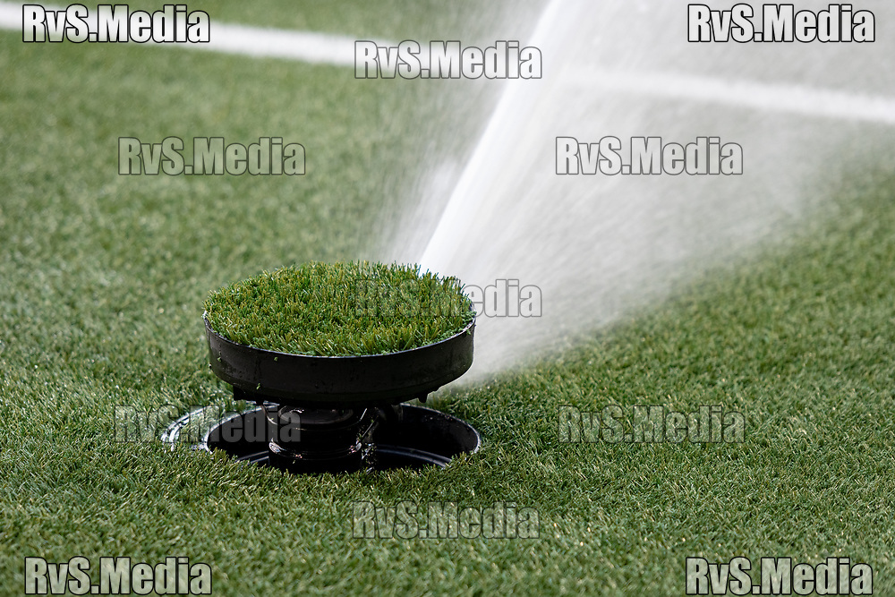LAUSANNE, SWITZERLAND - SEPTEMBER 22: A view of water being sprayed directly from the ground before the Swiss Super League match between FC Lausanne-Sport and BSC Young Boys at Stade de la Tuiliere on September 22, 2021 in Lausanne, Switzerland. (Photo by Basile Barbey/RvS.Media/)