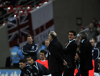 Photo: Tony Oudot/Richard Lane Photography. <br /> England v Switzerland. International Friendly. 06/02/2008.<br /> England manager Fabio Capello  is watched by his team before the game