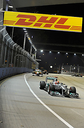 25.09.2011, Marina-Bay-Street-Circuit, Singapur, SIN, F1, Grosser Preis von Singapur, Singapur, im Bild DHL Branding - Michael Schumacher (GER), Mercedes GP // during the Formula One Championships 2011 Large price of Singapore held at the Marina-Bay-Street-Circuit Singapur, 2011-09-24  EXPA Pictures © 2011, PhotoCredit: EXPA/ nph/  Dieter Mathis       ****** out of GER / CRO  / BEL ******