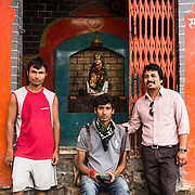 CAPTION: TARU has deployed six surveyors and identified community filters for the three-month long DSS pilot. LOCATION: Chikitsak Nagar, Indore, Madhya Pradesh, India. INDIVIDUAL(S) PHOTOGRAPHED: Sunil - the volunteer from the Chikitsak Nagar community, TARU surveyor Saransh and TARU DSS project coordinator Anshul Chaturvedi.