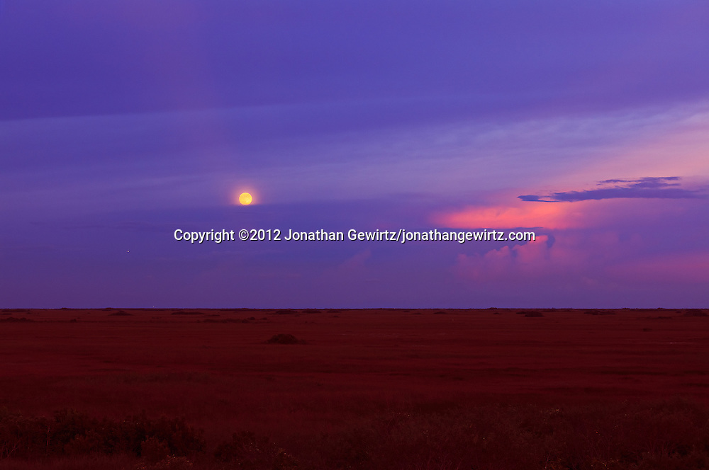The full Moon rises above clouds over sawgrass prairie in the Shark Valley section of Everglades National Park, Florida. WATERMARKS WILL NOT APPEAR ON PRINTS OR LICENSED IMAGES.