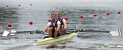 Great Britain's Harry Leask and Jack Beaumont in the Men's Double Sculls heat one during day one of the 2018 European Championships at the Strathclyde Country Park, North Lanarkshire.