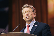 Sen. Rand Paul speaks during day two of the Conservative Political Action Conference (CPAC) at the Gaylord National Resort $ Convention Center in National Harbor, Md.
