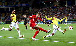 England's Kieran Trippier (centre) and Colombia's Wilmar Barrios (right) battle for the ball during the FIFA World Cup 2018, round of 16 match at the Spartak Stadium, Moscow.