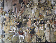 Le mystere de la vengeance de Notre Seigneur  (Story of the Vengeance of our Lord, Jesus Christ) medieval French mystery play based around the destruction of Jerusalem during the Jewish War of 66-70.  Detail showing Jews dancing in Jerusalem to the sound of flute, tambour and sackbut.  Anonymous painting c1630.