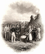 Crimean (Russo-Turkish) War 1953-1863. The Russian governor of Kinburn Fortress guarding the Dnieper estuary surrendering to the Allies (Britain, France and Turkey) after the bombardment of the fortress on 17 October 1855. Engraving c1860.