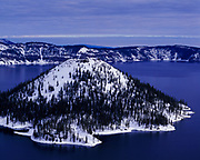 Wizard Island, a volcanic cone rising 764 feet above the surface of Crater Lake, Crater Lake National Park, Oregon.