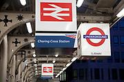 British Rail logo on signs for Charing Cross Station, London, UK.
