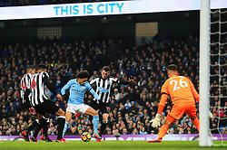 Leroy Sane of Manchester City and Javi Manquillo of Newcastle United - Mandatory by-line: Matt McNulty/JMP - 20/01/2018 - FOOTBALL - Etihad Stadium - Manchester, England - Manchester City v Newcastle United - Premier League