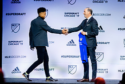 January 11, 2019 - Chicago, IL, U.S. - CHICAGO, IL - JANUARY 11: Logan Gdula is selected as the number thirteen overall pick to FC Cincinnati in the first round of the MLS SuperDraft on January 11, 2019, at McCormick Place in Chicago, IL. (Photo by Patrick Gorski/Icon Sportswire) (Credit Image: © Patrick Gorski/Icon SMI via ZUMA Press)